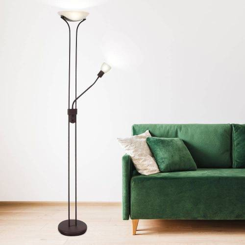etc-shop LED Deckenfluter, Stehlampe Deckenfluter LED dimmbar mit Leselampe LED-Stehlampen mit Dimmer, Lesespot flexibel rostfarben, 2x LED warmweiß, H 180 cm