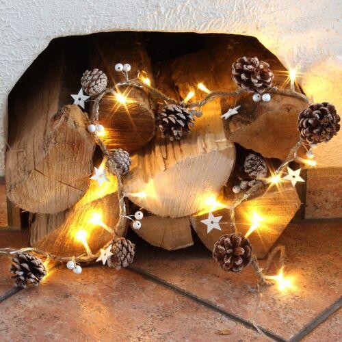 MARELIDA LED-Lichterkette »Kiefernzapfen und Holzsternen am Seil - 20 warmweiße LED - L: 0,9m«, 20-flammig