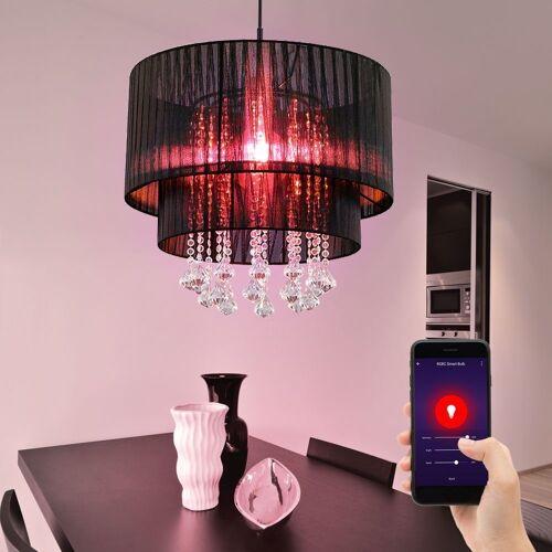 etc-shop Smarte LED-Leuchte, Hängeleuchten Esszimmerleuchten Kristall Pendellampe Wohnzimmer Lampen Decke hängend, Garn, Smart RGB LED Dimmbar, 10W CCT 2700-6500K 806lm, DxH 40 x 140 cm