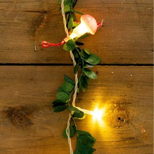 MARELIDA LED-Lichterkette »LED Lichterkette mit Fliegenpilzen und Blättern - 20 warmweiße LED - L: 1,3m - Batteriebetrieb«, 20-flammig