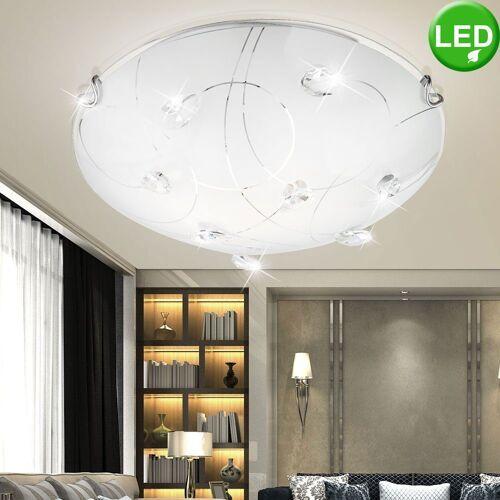 etc-shop Deckenleuchte, LED Deckenleuchte Kristalle 9 Watt Wandlampe Deckenlampe Wohnzimmer Leuchte Lampe