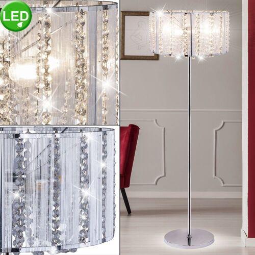 etc-shop Stehlampe, Steh Lampe Decken Fluter Wohn Zimmer Kristall Chrom Leuchte im Set inkl. LED Leuchtmittel