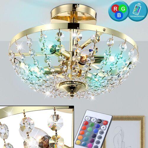 etc-shop Deckenleuchte, 21 Watt RGB LED Decken Leuchte Kristall Luster Farbwechsel Beleuchtung