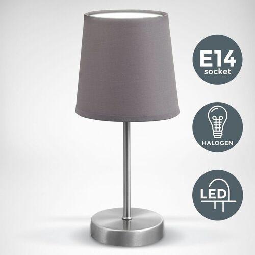 B.K.Licht Tischleuchte »BKL1197«, LED Tischleuchte Stofflampe grau, matt-nickel E14 Tischlampe Nachttischlampe mit Schalter IP20