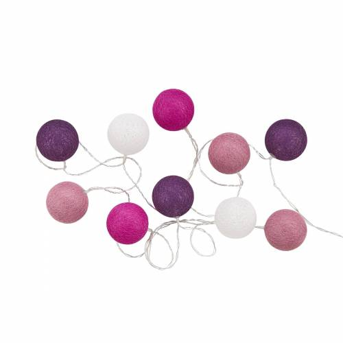 BUTLERS Lichterkette »LES BELLES 10er Cotton-Ball Lichterkette«, Lila