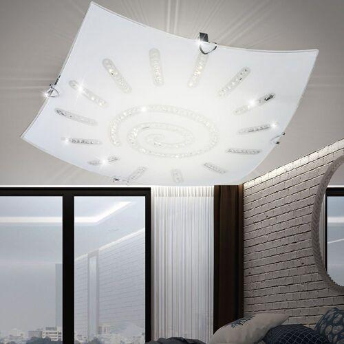 FISCHER & HONSEL Deckenleuchte, LED Glas Deckenlampe mit Kristallen SONNE KRISTALL