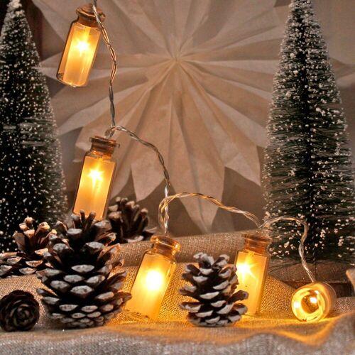 MARELIDA LED-Lichterkette »LED Lichterkette Mini Glasflaschen mit Sterneffekt - 10 warmweiße LED - Batteriebetrieb - L: 0,9m«, 10-flammig
