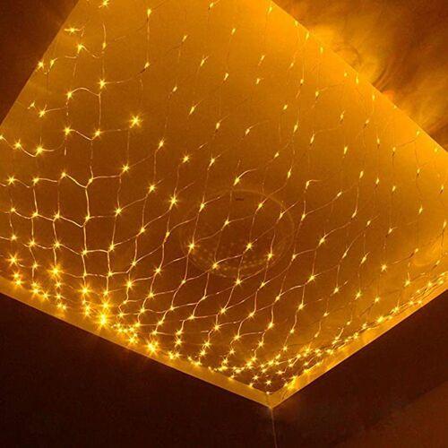 TOPMELON Lichterkette, LED Net Mesh Lichterkette, Wasserdicht, 4 Größen,Weihnachtsdekoration, Gelb