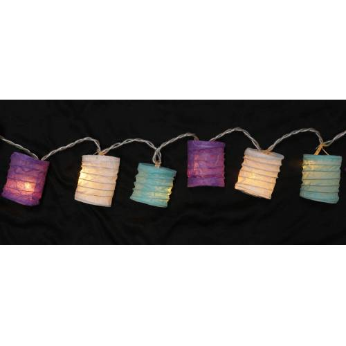 Guru-Shop LED-Lichterkette »LED Lichterkette, kleine runde Lampions,..«, lila