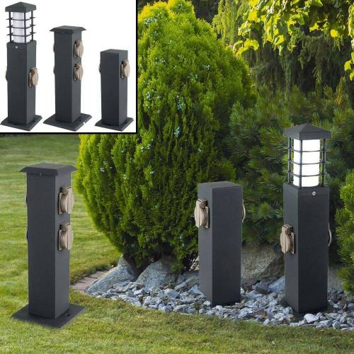 etc-shop LED Außen-Stehlampe, Außen Steck Dosen Garten Terrassen Steh Lampe grau Hof Edelstahl Energieverteiler, grau - 2-fach Steckdose