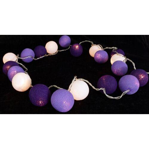 Guru-Shop LED-Lichterkette »Stoff Ball Lichterkette LED Kugel Lampion..«, lila