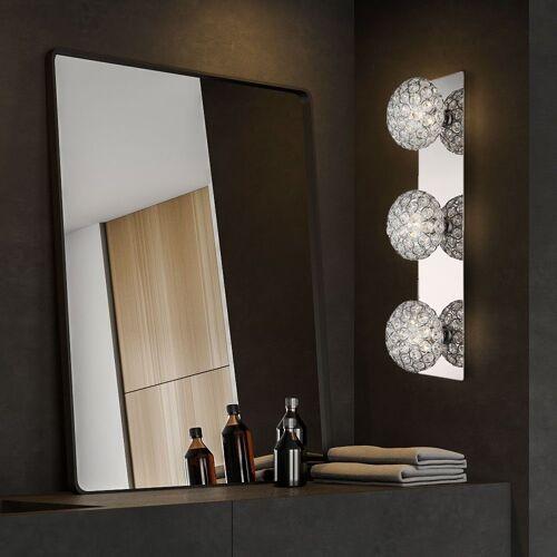 etc-shop Wandleuchte, Kristall Wandleuchte silber Kristall Deko Kugel Wohnzimmer Wandlampe, Lichteffekt Metall silber, 3x G9, L 11 cm