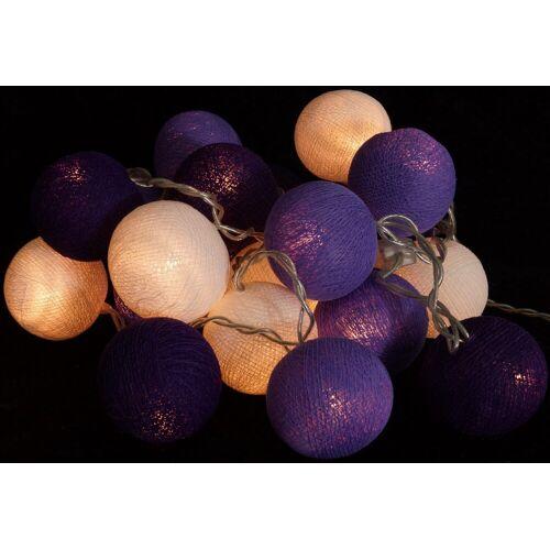 Guru-Shop LED-Lichterkette »Stoff Ball Lichterkette, LED Kugel Lampion..«, lila