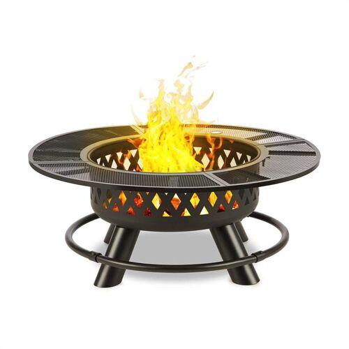 blumfeldt Feuerschale »Rosario 3-in-1-Feuerschale Ø120cm 70cm Grill Tischplatte Stahl«, Dreifach Praktisch: Feuerschale, Schwenkgrill und Tisch in einem