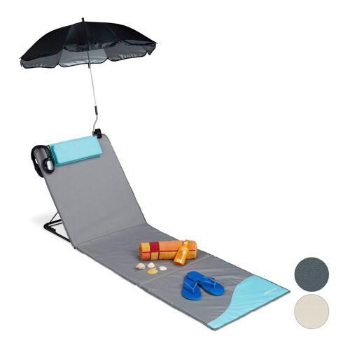 relaxdays Gartenliege »Strandmatte mit Sonnenschirm«