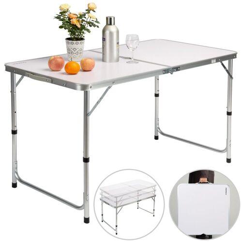Casaria Campingtisch (1-St), platzsparend klappbar • höhenverstellbare Tischhöhe • wetterfestes Alu Gestell • leicht • Sonnenschirmhalterung • Tragegriff • leicht zu transportieren, Weiß