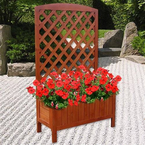 Mucola Blumenkasten »Blumenkasten Holz Rankkasten Rankgitter Rankhilfe Blumenständer Blumenkübel Rankgestell«, Braun