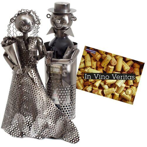 BRUBAKER Weinflaschenhalter »Hochzeitspaar«, (inklusive Grußkarte), Metall Skulptur, Hochzeitsgeschenk