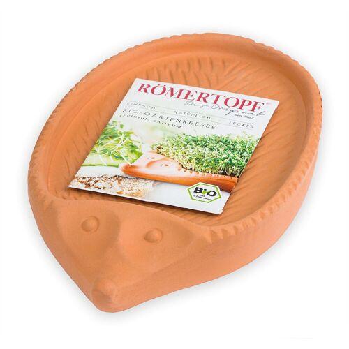 RÖMERTOPF Kräutertopf »Kresse−Igel aus Naturton − Inkl. Bio−Kresse − Anzuchtschale Blumentopf für Kressesamen − Kressegarten«