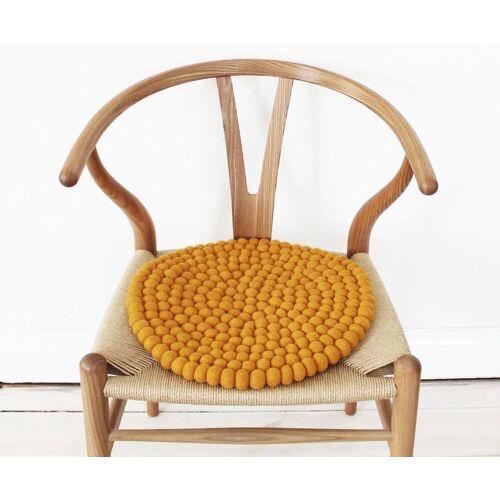 Wooldot Sitzkissen »Uni Color«, rund, Filzkugel-Teppich, reine Wolle, auch als Set bestellbar, gelb