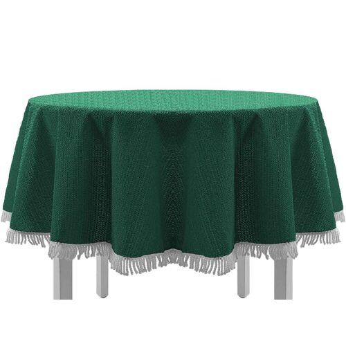 EXKLUSIV HEIMTEXTIL Gartentischdecke »Gartentischdecke mit Fransen Tischdecke Classic«, eckig, grün
