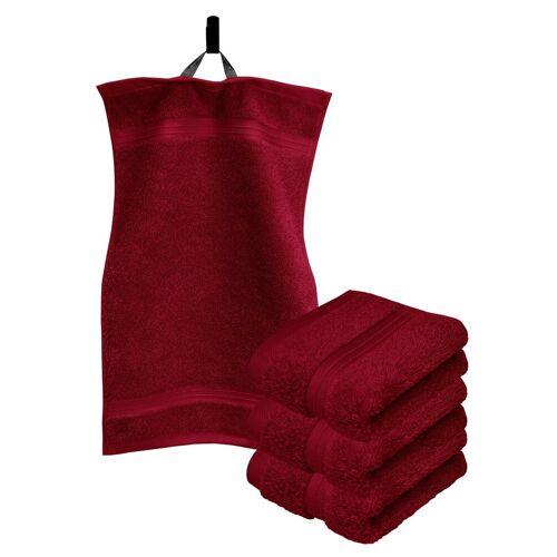 Lashuma Handtuch Set »Linz« (Set, 4-tlg), Gästehandtücher 30x50 cm, Handtücher Frottee, Rubin Rot