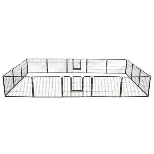 vidaXL Laufstall »Hunde-Laufstall 16 Paneele Stahl 60x80 cm Schwarz«