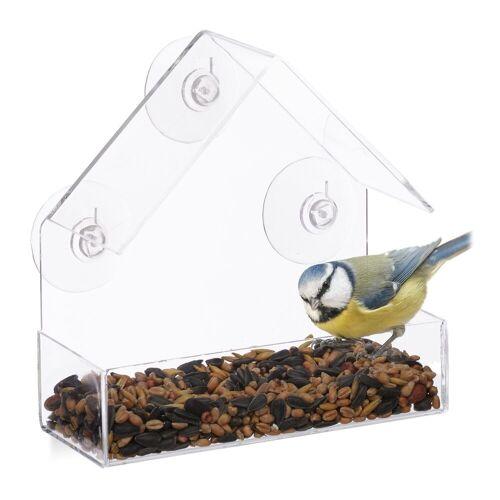 relaxdays Vogelhaus »Fenster-Vogelfutterhaus«