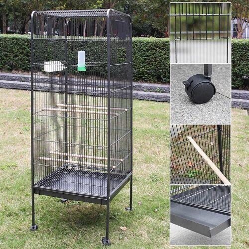 Mucola Voliere »Vogelvoliere Metall Vogelkäfig Vogelhaus Tierkäfig Vogel Käfig Voliere Papagei X«, Maße Außen: ca. 146 cm x 54,5 cm x 54,5 cm (H x B x T)