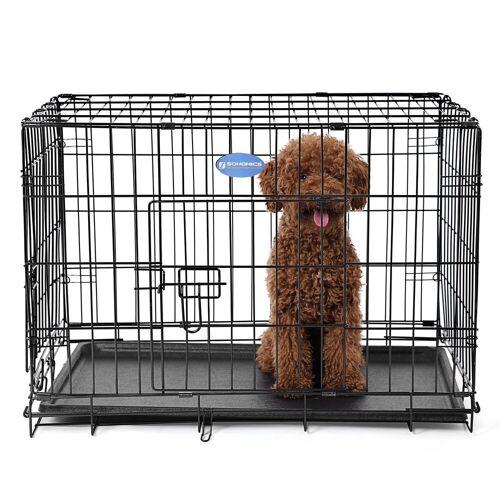 FEANDREA Hundekäfig »PPD30H PPD36H PPD42H«, Hundezwinger Hundebox Schutzgitter klappbar 75 x 47 x 54 cm schwarz