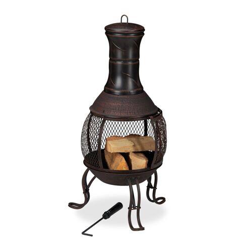 relaxdays Feuerschale »Aztekenofen für Garten rot-bronze«