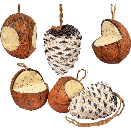 dobar Vogelfutter, 4 Kokosnüsse und 2 Zapfen