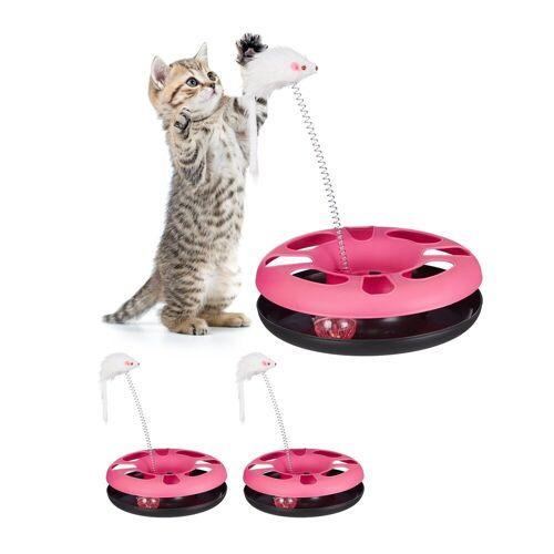 relaxdays Tier-Kugelbahn »3 x Katzenspielzeug mit Maus pink«, Kunststoff