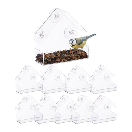 relaxdays Vogelhaus »10 x Fenster-Vogelfutterhaus«