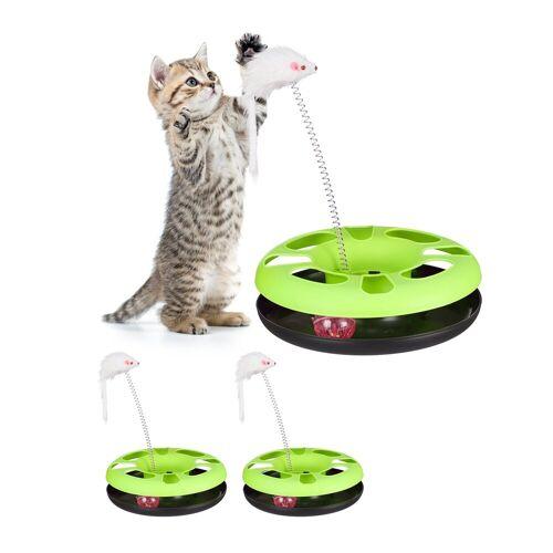 relaxdays Tier-Kugelbahn »3 x Katzenspielzeug mit Maus grün«, Kunststoff
