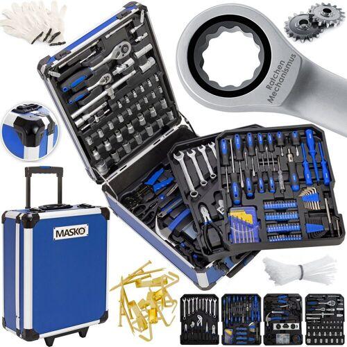 MASKO Werkzeugtrolley, 969 tlg Werkzeugkoffer Werkzeugkasten Werkzeugkiste Werkzeug Trolley Profi 949 Teile Qualitätswerkzeug, blau