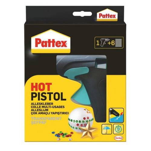 HENKEL Heißklebepistole, (Heißklebepistole mit 6 Klebesticks), Aufschmelztemperatur: 170 °C, Heißkleben mit mechanischem Vorschub