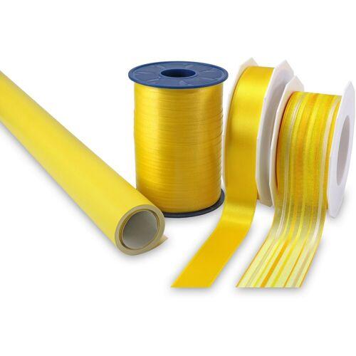 PRÄSENT Geschenkpapier »Streifen«, Geschenkpapier-Set, 4-teilig, gelb