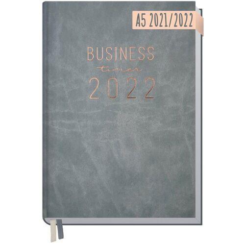Häfft Taschenkalender »Business-Timer 2021/2022 / A5 / 18 Monate«, Grau-Rosé