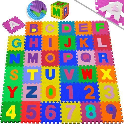 KESSER Puzzlematte, 86 Puzzleteile, Kinderspielteppich aus Puzzleteilen 86-teilig Spielmatte Schaumstoffmatte Kinderteppich Puzzle Zahlen und Buchstaben, Maß je Matte ca. 31,5 x 31,5 cm Schutzmatte, bunt