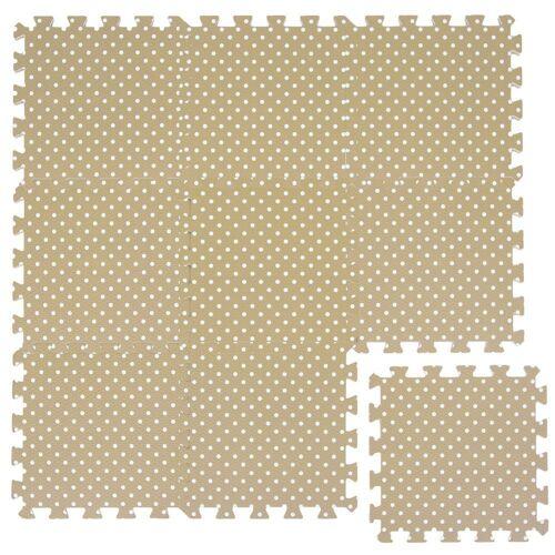 LittleTom Puzzlematte »Baby Puzzlematte ab 0 Kinder Spielmatte«, 9 Puzzleteile, Krabbelmatte Punkte Beige