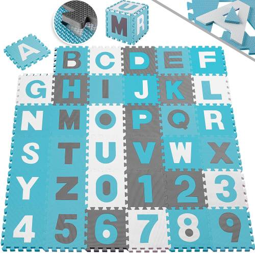 KESSER Puzzlematte, 86 Puzzleteile, Kinderspielteppich aus Puzzleteilen 86-teilig Spielmatte Schaumstoffmatte Kinderteppich Puzzle Zahlen und Buchstaben, Maß je Matte ca. 31,5 x 31,5 cm Schutzmatte, blau