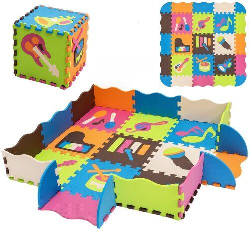 COSTWAY Puzzlematte »Puzzlematte«, 50 Puzzleteile, 50 Stück mit Zaun, Bodenspielmatte mit abnehmbaren Musikinstrumentenmustern, Kinderteppich für Baby und Kinder, Spielteppich Eva, Krabbelmatte