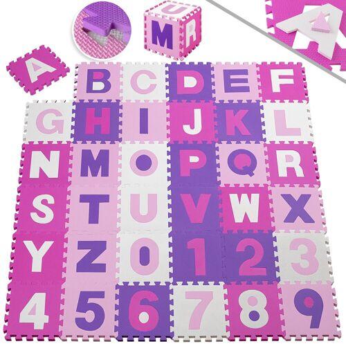 KESSER Puzzlematte, 86 Puzzleteile, Kinderspielteppich aus Puzzleteilen 86-teilig Spielmatte Schaumstoffmatte Kinderteppich Puzzle Zahlen und Buchstaben, Maß je Matte ca. 31,5 x 31,5 cm Schutzmatte, rosa