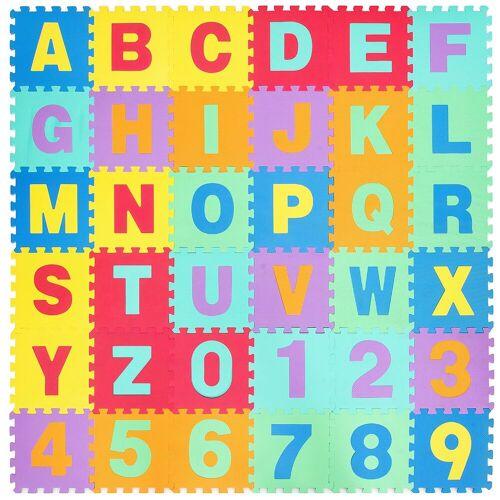 COSTWAY Puzzlematte »Puzzlematte«, Puzzleteile, 36 Stück mit abnehmbarem Alphabet und Zahlen, Kinderteppich je 31,5x31,5x1cm, Spielteppich Eva, Krabbelmatte