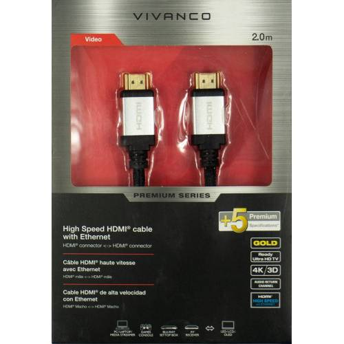 Vivanco HDMI High Speed Kabel mit Ethernet - 2m