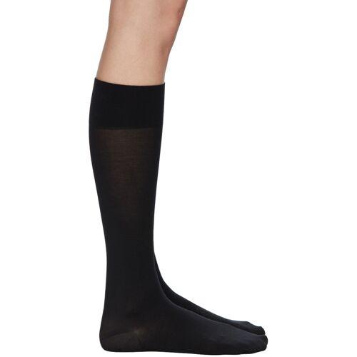Wolford Black Cotton Knee-High Socks 38/39