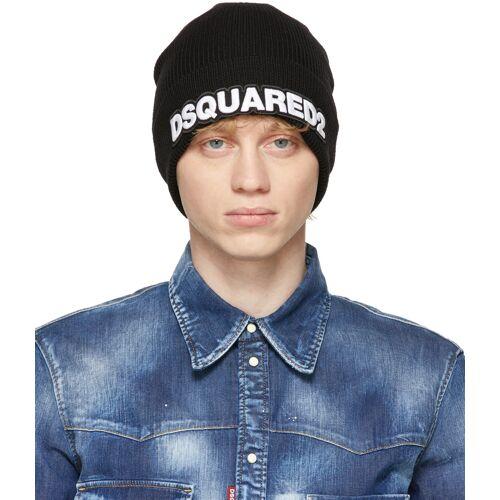 Dsquared2 Black Wool Logo Beanie 56