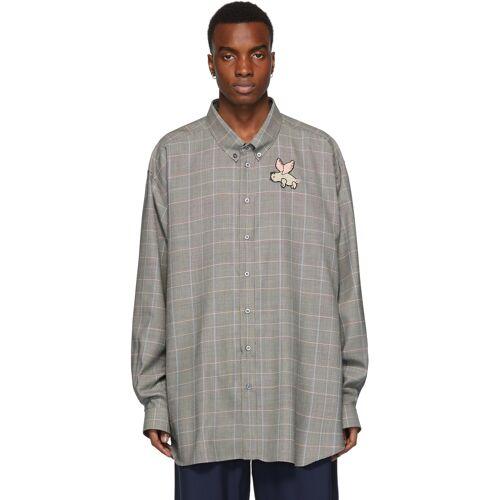 Gucci Grey Plaid Flying Pig Shirt XL