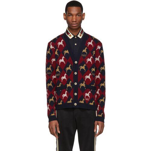 Gucci Red & Navy Jacquard Equestrian Cardigan XXL